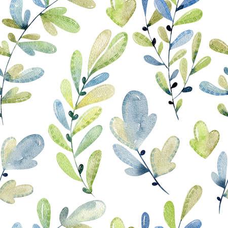watercolor seamless pattern with leaves. Foto de archivo
