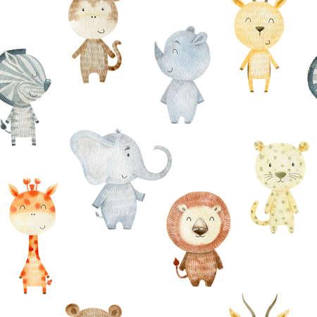 Watercolor pettern with safari animals. Foto de archivo