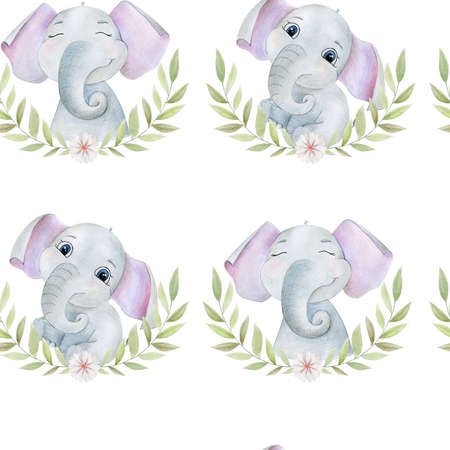 Seamless pattern with watercolor elephants.
