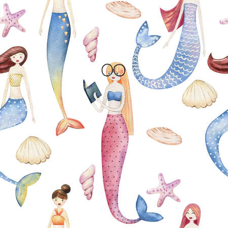 Watercolor seamless pattern with mermaids.