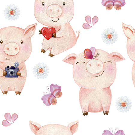 Watercolor seamless pattern with pigs.