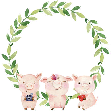 Watercolor wreath with cute pigs.