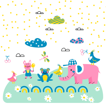 Cute animal friends cartoon vector style vector illustration Illustration