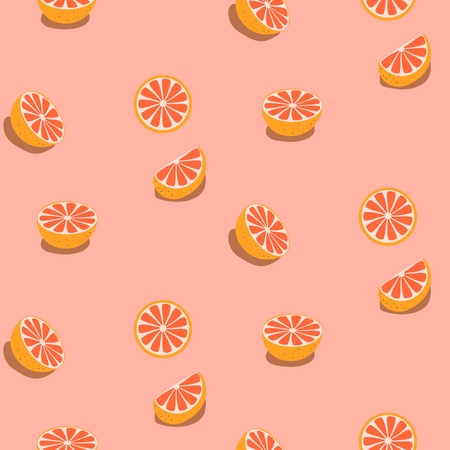 Seamless fruit pattern with grapefruits.