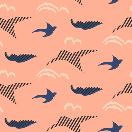 Bird silhouettes abstract seamless vector pattern. Stylized blue and pink repeat background.