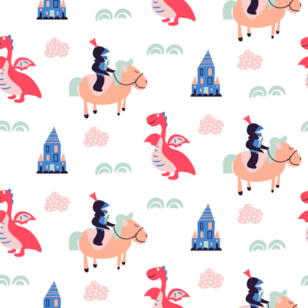Knights and dragons seamless vector pattern. Cute kid tale repeat fabric print.
