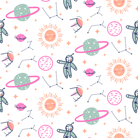 Stars and planets seamless vector pattern. Cute kid cosmic repeat fabric print. Illustration