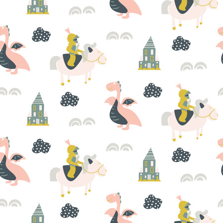 Seamless vector pattern with tale knights and dragons. Cute kid fairy tale dreamlike repeat fabric print.  イラスト・ベクター素材