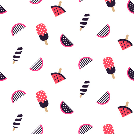 Seamless pattern with fruit ice cream and watermelon. Sweet pastry shop pink and purple background vector.