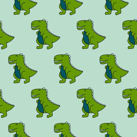 Cute dinosaurs seamless vector pattern