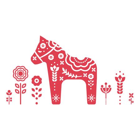 Dala schwedisches Pferd Vektorillustration.