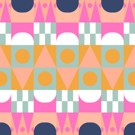 African color block seamless vector pattern. Illustration