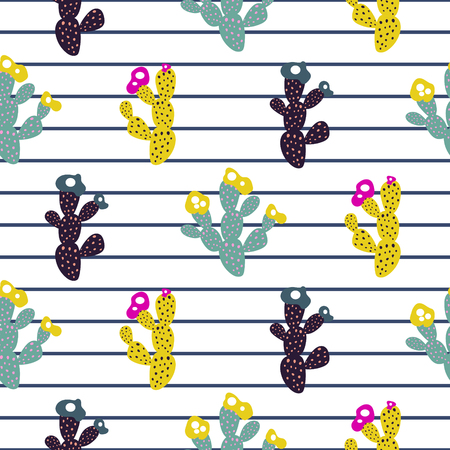 Exotic cactus seamless pattern modern print with stripes.