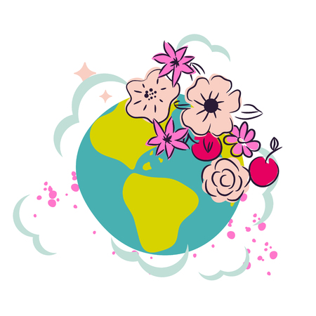 Cartoon earth with flower crown decor clipart vector.