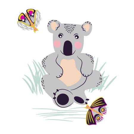 Koala schattige beer en motten op een weide vector clipart.