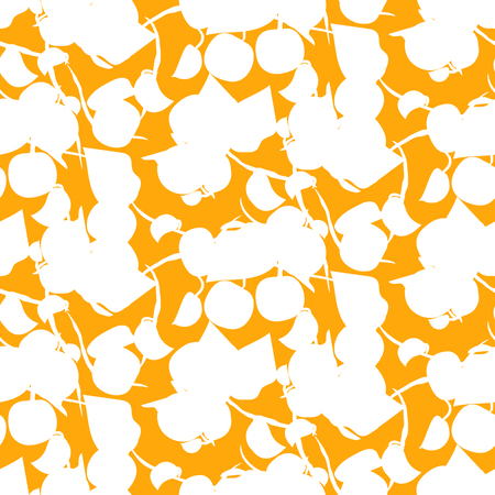 Abstract fruit silhouette orange seamless vector pattern.