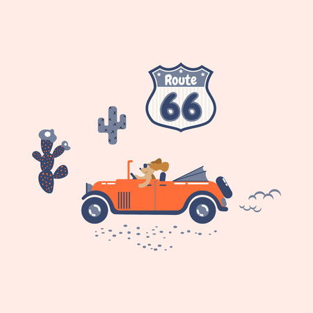 Dog drives a retro car on a route sixty six.