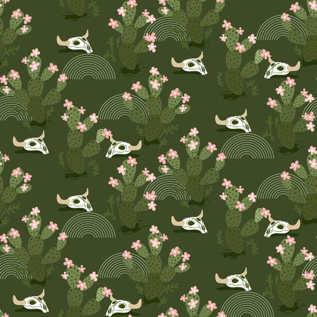 Cactus and skulls in desert green seamless vector pattern.  イラスト・ベクター素材