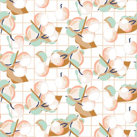 Peach fruit seamless pastel light vector pattern.