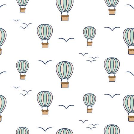 Hot air balloons and birds seamless vector pattern.