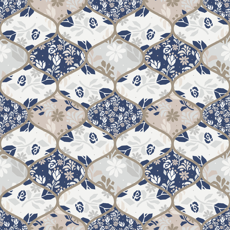 Fence tiles flower seamless vector patchwork style pattern.