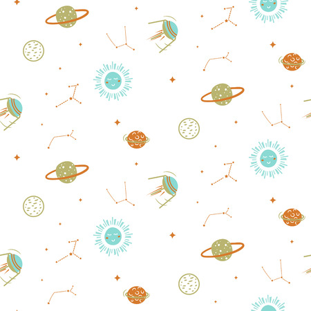 Planets in space seamless vector cute pattern. Pastel colors kid cosmic repeat fabric print.