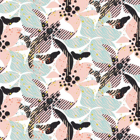 Seamless pattern with bold pastel flowers with shaded texture. Botanical garden abstract florals.