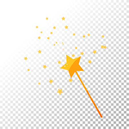 Magic wand and stars golden vector illustration isolated. Cartoon wand stick.