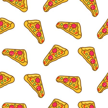 Pizza slice seamless pattern cartoon vector.