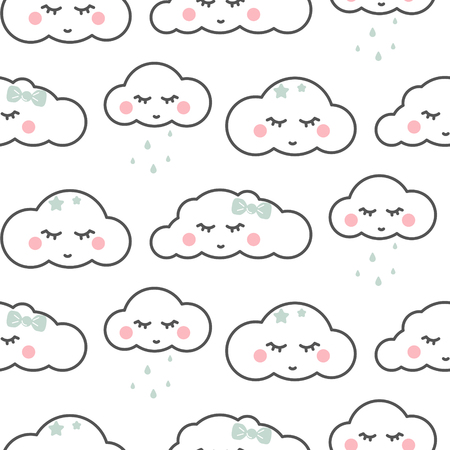 Cute cloud sleepy face white seamless baby vector pattern. Fluffy clouds kids background.
