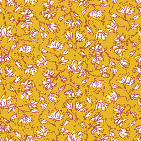 Seamless pattern with magnolia flowers. Soft pink floral line style artistic background for textile feminine print.
