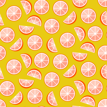 Grapefruit slices on yellow background. Citrus fruit slices seamless vector pattern.
