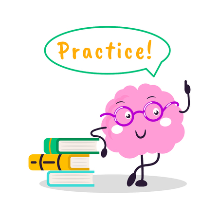 Brain training vector fun character cartoon flat illustration. Practice knowledge your brain emoji standing near books.
