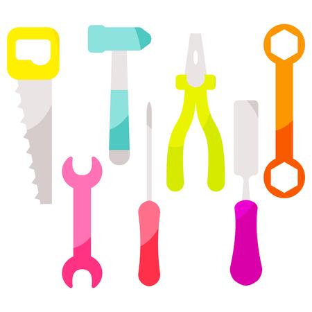 Vector tools equipment icon set. Bright neon color instruments. Illusztráció
