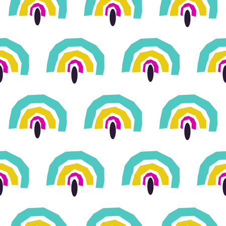 Abstract rainbow fans seamless vector pattern. Blue and yellow archs repeat background.