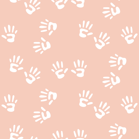 Baby handprints seamless vector pattern for girls. Newborn pink and white hand prints repeat background. Illustration