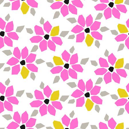 Modèle vectorielle continue de papier découpé rose fleur audacieuse. Botanique florale en palette moderne de couleurs vives néon pour impression sur tissu.