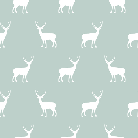 Deer blue and white simple seamless vector pattern. Wild raindeer in the woods winter background for wrap paper and textile.