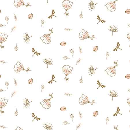Botanical seamless vector pattern for textile fashion print. Cute light pink florals and insects on white background texture.