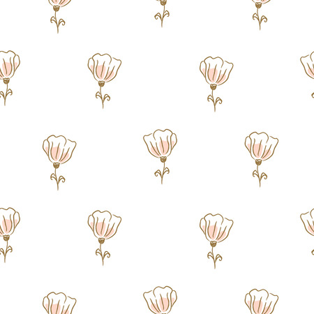 Botanical flowers seamless vector pattern for textile fabric print. Cute light pink tiny florals on white background texture. Illustration
