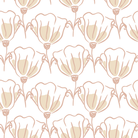 Tulip flowers seamless vector pattern. Hand drawn lines tender pink and white floral texture. Wedding card bold and light design. Illustration