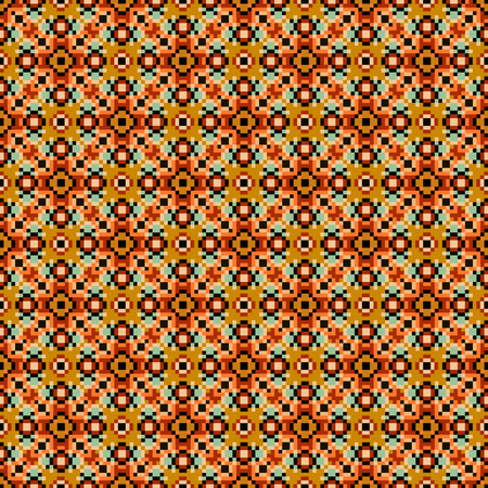 Fair Isle style knitted pattern texture. Vector knitted seamless background. Knitted pixel repeat orange red sweater texture. Illustration