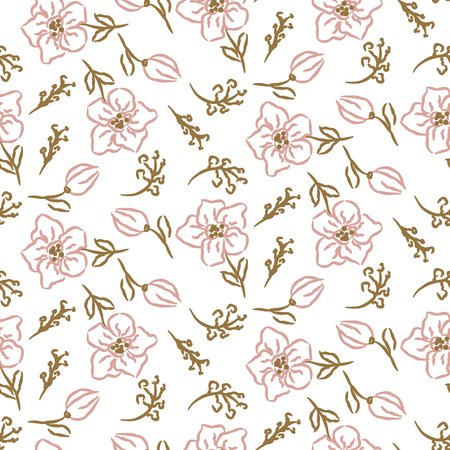 Flowers seamless pattern. Hand drawn style tender pink and white texture. Wedding card design.
