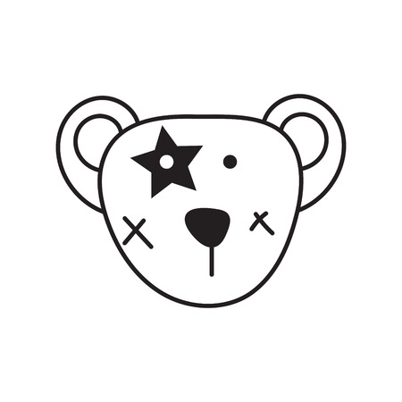 Cute bear head vector icon. Cartoon fashion character for apparel print and stickers isolated on white. Reklamní fotografie - 120209821