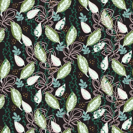 Botanical plants seamless vector pattern. Greenery dark repeat black print illustration. Banco de Imagens - 120209823