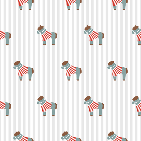 Pony cute seamless pattern with striped shirt decorative vector texture for kids print. Baby horse animal fabric striped design.