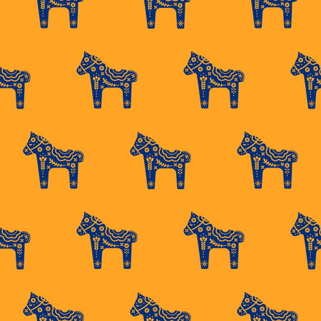 Horse silhouette seamless pattern with floral decorative texture blue and orange colored. Elegant repeat fabric texture wrap design.