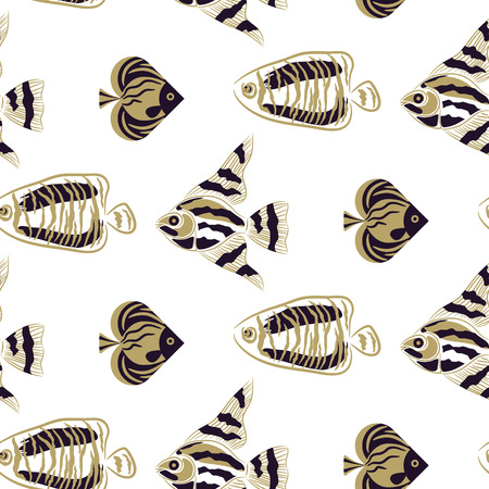 Fish stylish seamless vector pattern. Olive green and khaki background modern texture. Fashion repeat sketched pattern for wallpaper and textile. 일러스트