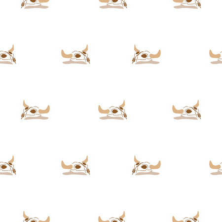 Animal skull in a desert seamless vector pattern. Cartoon cow skull on white background.