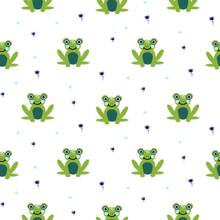 Frogs seamless vector pattern. Cute green animal bold print on white background. Funny frog for textile print and kid apparel cute background. Illustration